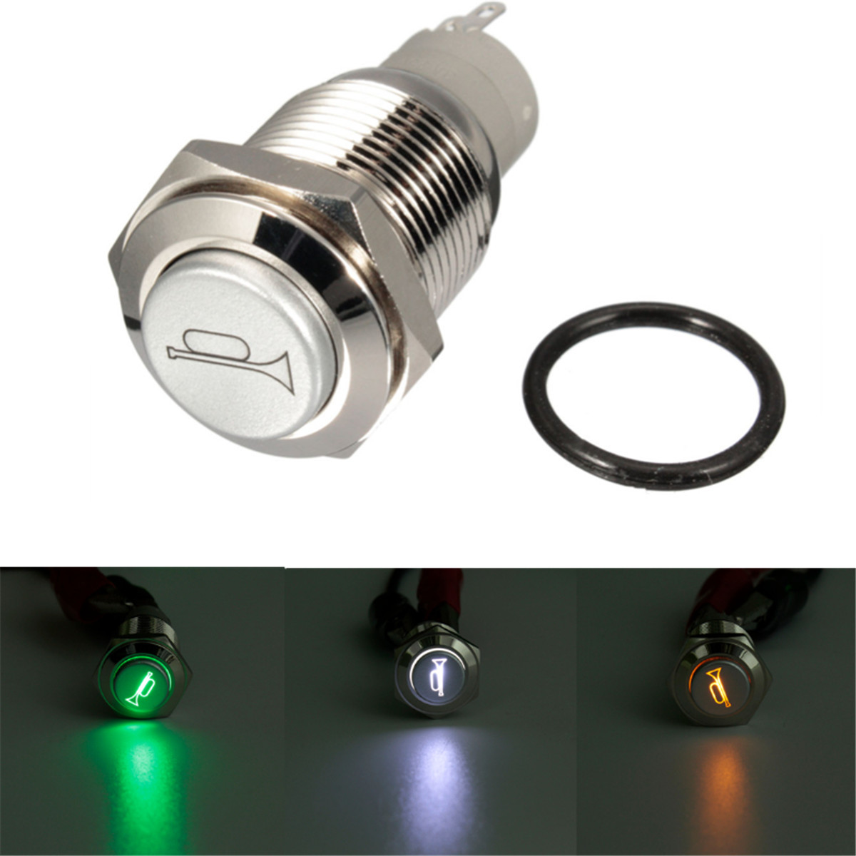 12V 16mm LED Push Button Switch Horn Switch Momentary Blue LED Light Waterproof