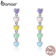 BAMOER Romantic Genuine 925 Sterling Silver Rainbow Heart Enamel Drop Earrings for Women Fashion Sterling Silver Jewelry SCE451