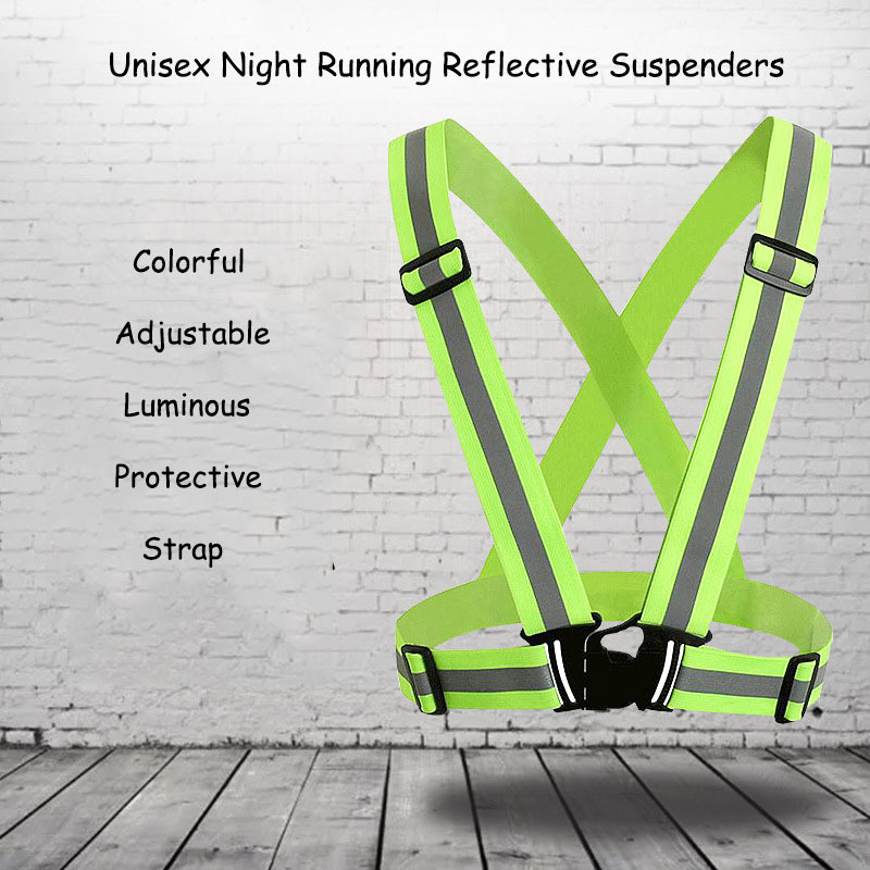 Deepeel 1pc 4*80-120cm Unisex Night Running Reflective Suspenders Colorful Adjustable Luminous Protective Strap Youth Sport Belt