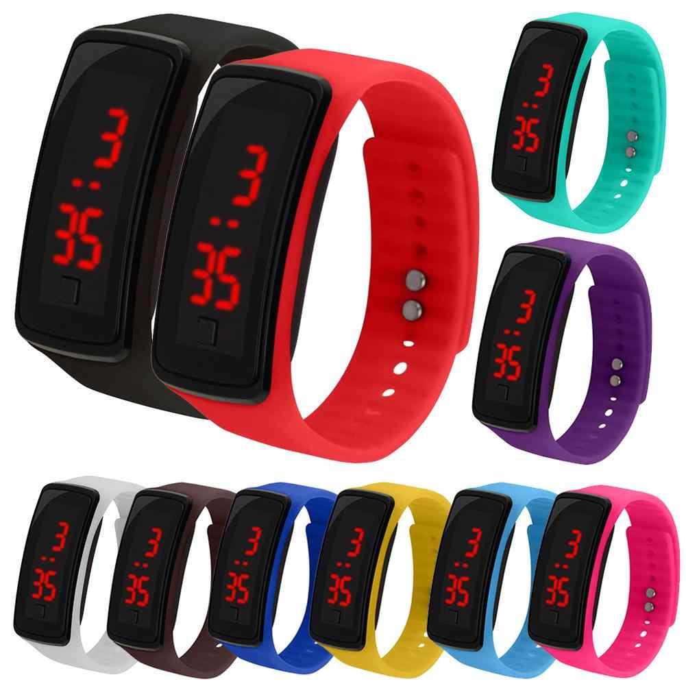 Kids Silicone Verstelbare Band Led Scherm Elektronische Digitale Horloge Armband Siliconen Horloge Voor Kinderen Kids