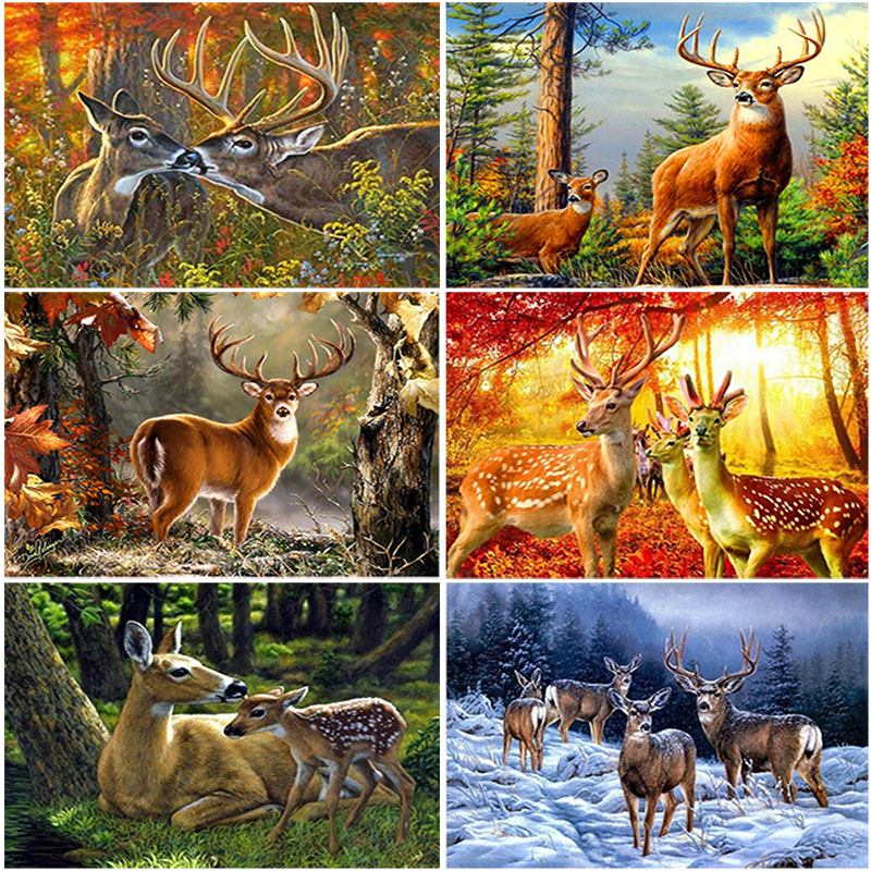 Full Drill 5D Diamond Painting Cross Forest Elk Stitch Kit Embroidery Home Decor