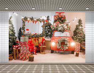 Lyavshi Photography Background Winter Snowflake Christmas Tree Red Car Gift Lights Decoration Backdrops for Photo Studio