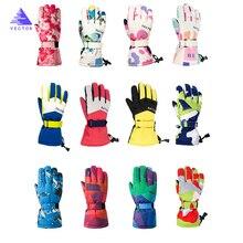 Водонепроницаемые теплые перчатки для девочек и мальчиков, Детские ветрозащитные перчатки для катания на лыжах, сноуборде, зимние профессиональные термальные лыжные перчатки