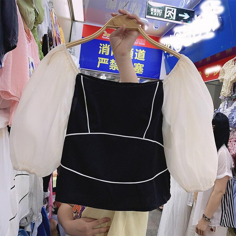 Slim-Fit Temperament Square Collar Shirt Women's Short-Sleeved Short Blouse Puff Sleeve Blusas Crop Top Femme