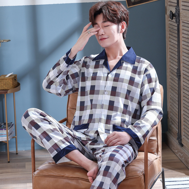 Mens Pajama Set Cotton Sleepwear Men Pajamas Set Spring Autumn Pijama Hombre Mens Sleepwear Striped Sleep Wear Pyjamas Plus Size