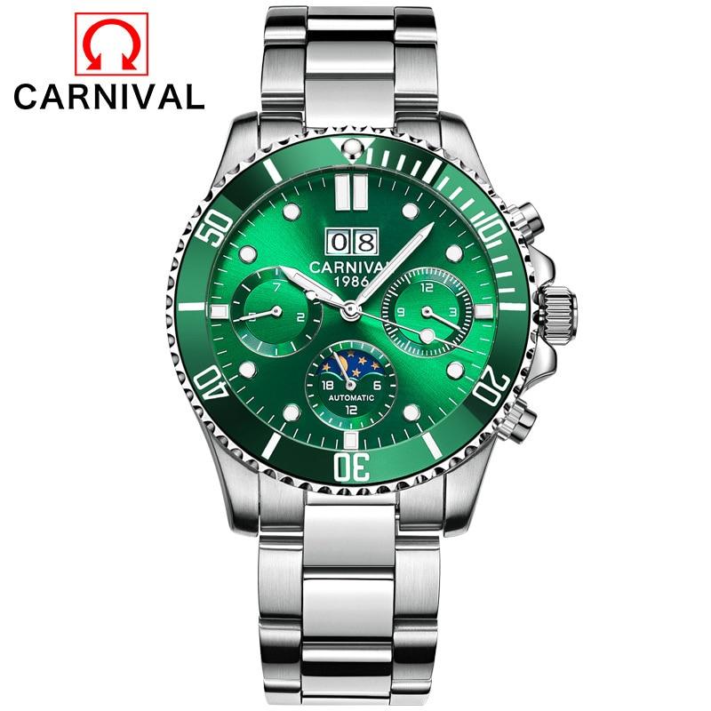 Relogio Masculino Carnival Luxury Brand Military Automatic Watch Mens Waterproof Luminous Mechanical Sport Watches Relogio 2019