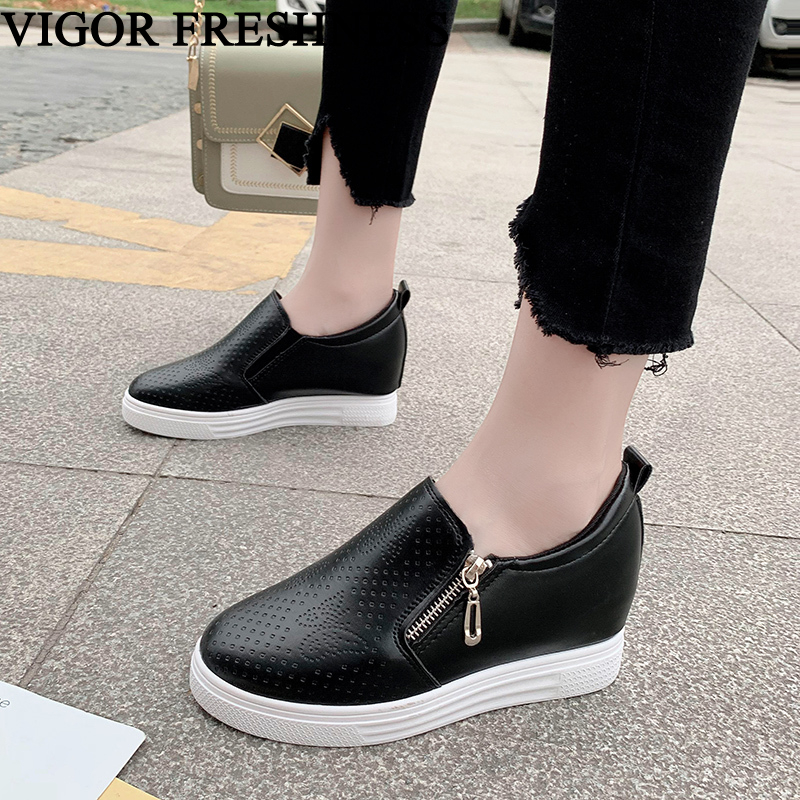 VIGOR FRESHNESS Shoes Woman Platform Shoes Spring Women Wedges Shoes Autumn Pumps Hidden Heels White Sneakers 6.5CM WY586