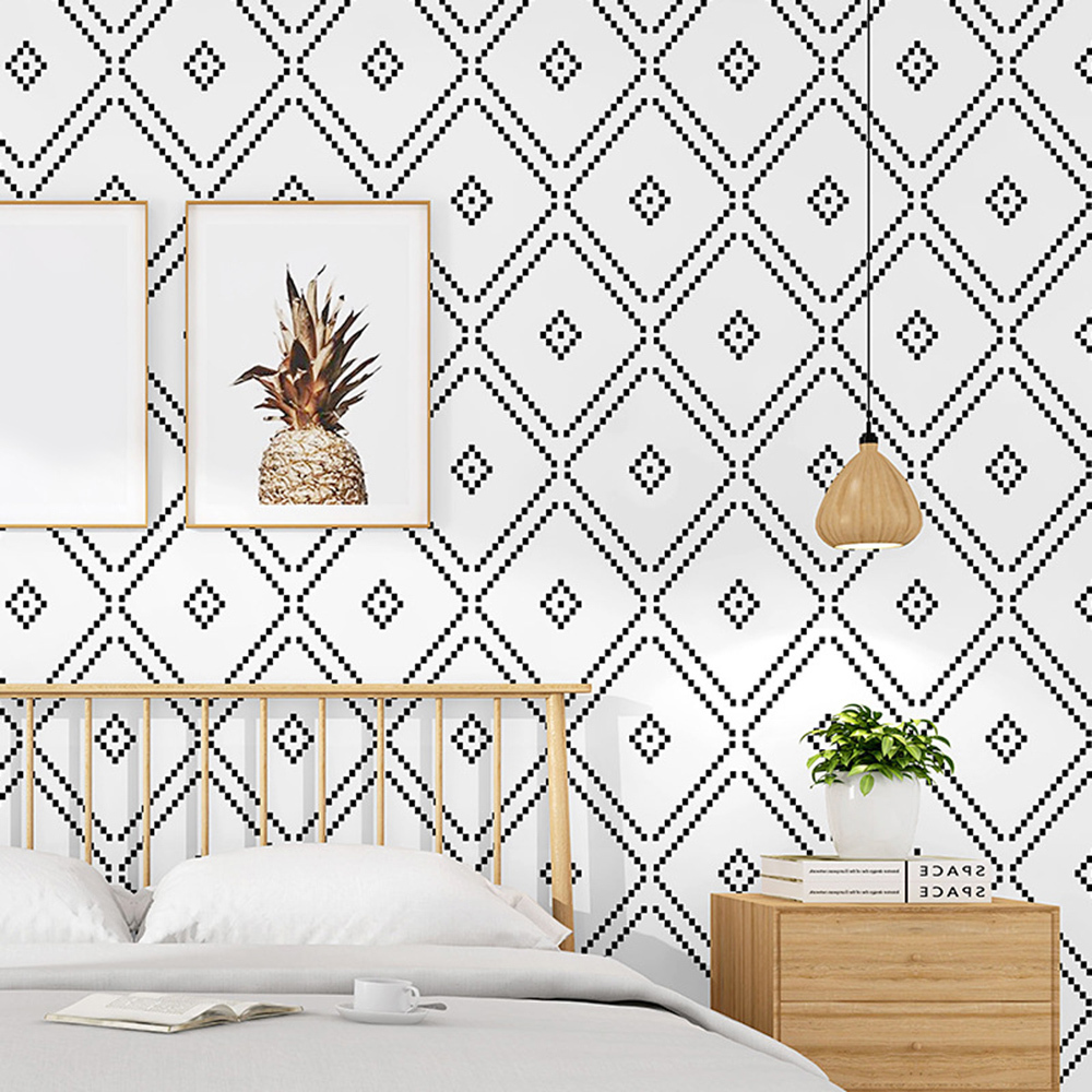 New 9.5M Nordic PVC Geometric Washable Wallpapers For LIving Room Store Black and White Diamond Lattice Wall Paper Sticker Roll