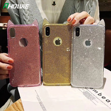 Mewah Bling Diamond Cute Cat Telinga Transparan Lembut Tpu Ponsel Case untuk iPhone 11 Pro X XR X Max 6 6 S 7 7 Plus Jelas Coque Cover(China)