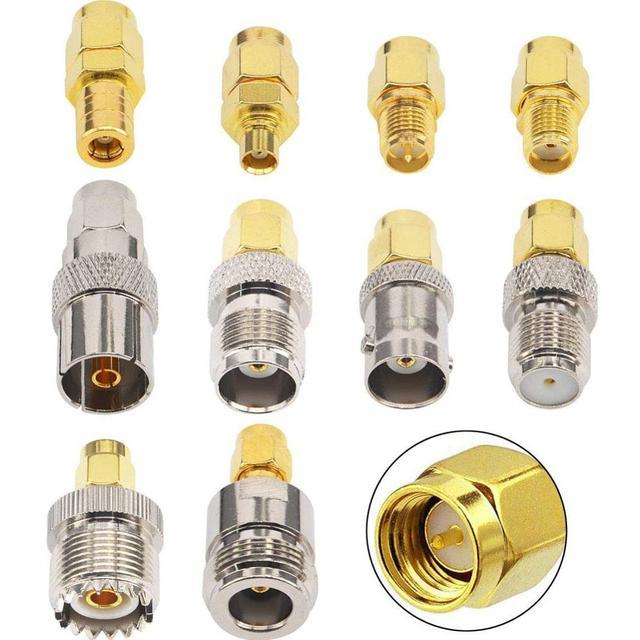 10 Set di tipo SMA Kit Adattatore SMA maschio a N/F/BNC/UHF/MCX/SMB/TV/TNC maschio Dritto Nichel Placcato Oro Prova Convertitore