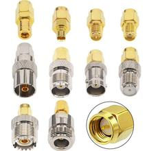 Комплект адаптеров SMA 10 типов, прямой никелевый позолоченный преобразователь с разъемами SMA «папа» на N/F/BNC/UHF/MCX/SMB/TV/TNC «мама»