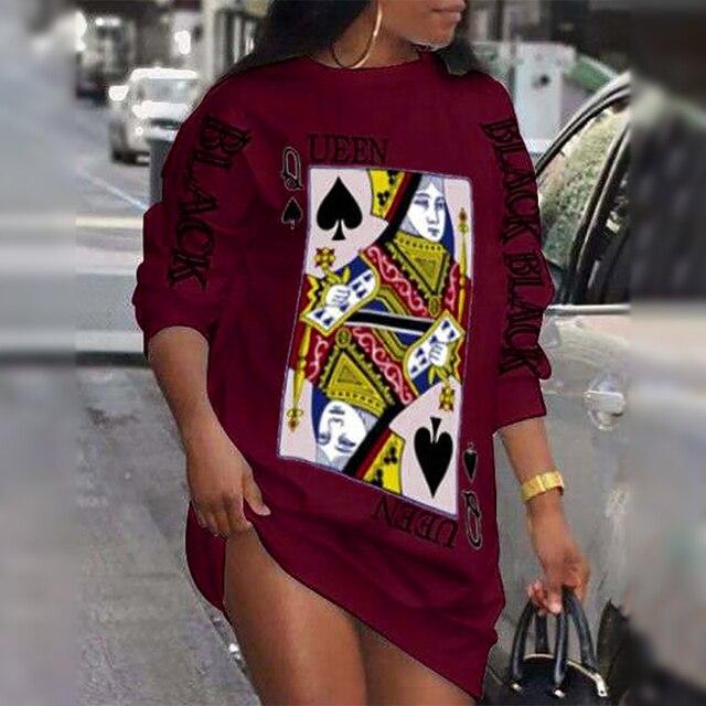 2021 Ladies Loungewear Round Neck Poker Letter Print Long Sleeve Plus Size Women Clothing Street Style Winter Casual Dresses 4