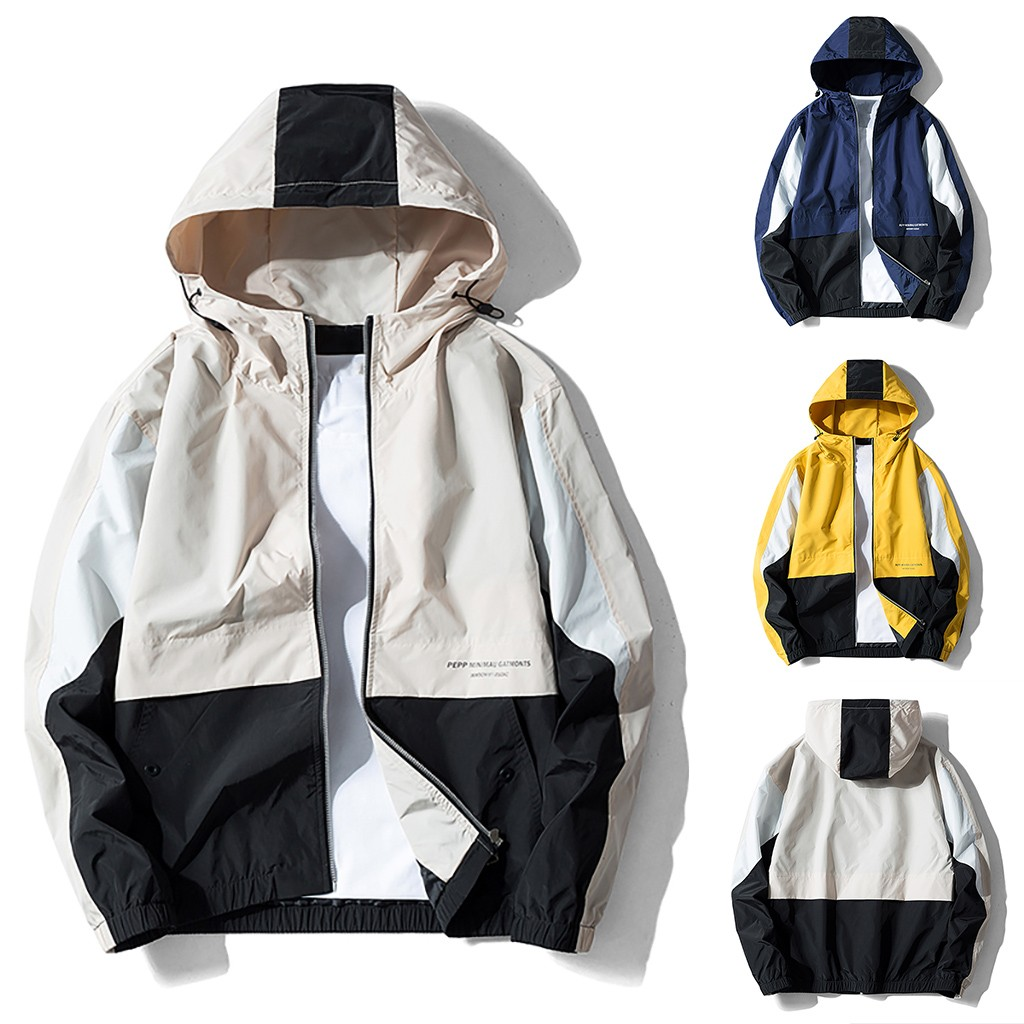 Winter Coat Outwear Patchwork Autumn Breathable Men's Casual Support Zipper