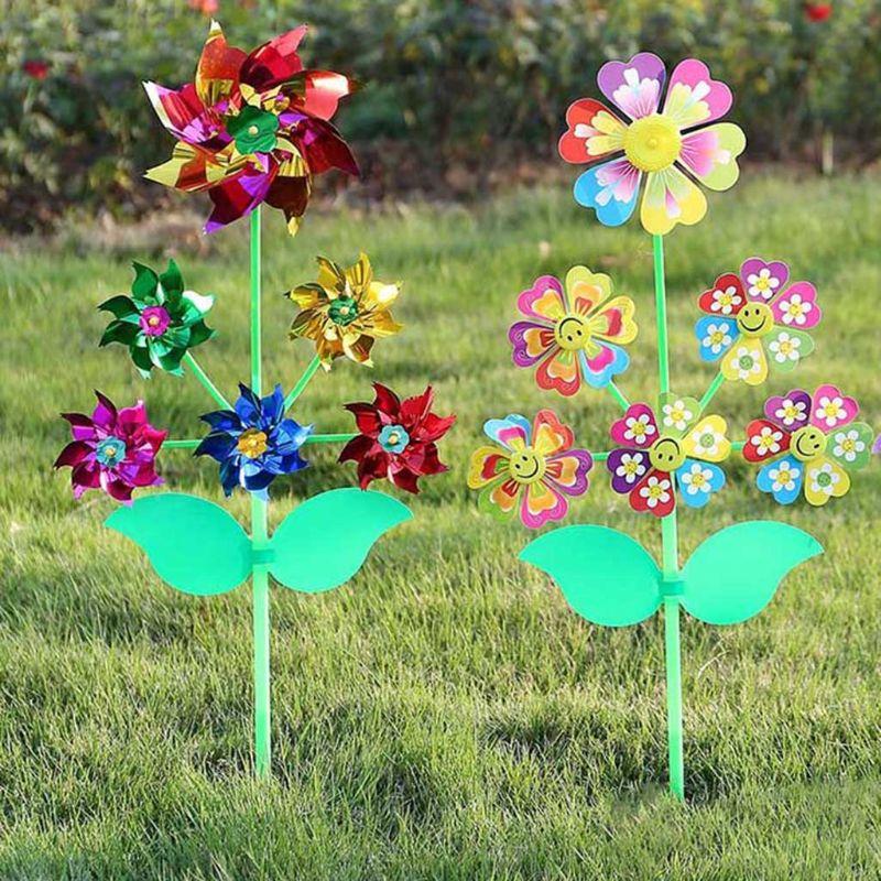 6 Wheel Cartoon Windmill Toys Whirligig Wind Spinner Pinwheel Yard Garden Decor