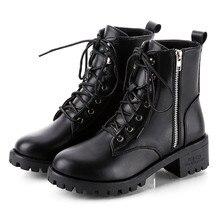 Botas SAGACE para mujer, botas negras duras para mujer, botines Vintage de cuero, botas cortas de vaquero para motocicleta, botas de moda descubiertas, zapatos #45