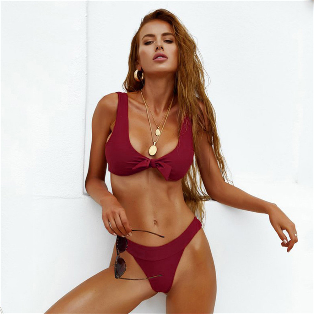 Sexy Bikini 2019 Solid Color Vest Before Knotting Bow Chest Pad Thong Bikinis Feminino Swimwear Women Biquini Monokini Swimsuit