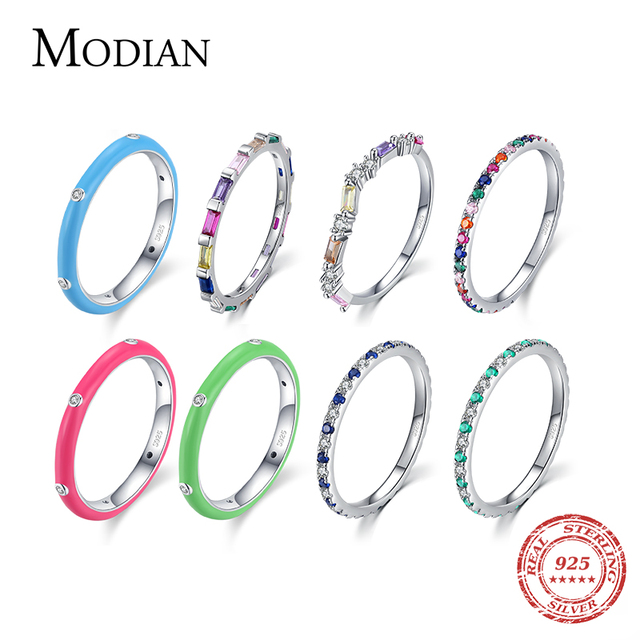 Modian 2021 Real 925 Sterling Silver Rainbow CZ Simple Fashion Finger Ring Stackable Enamel Rings For Women Brand Fine Jewelry 1