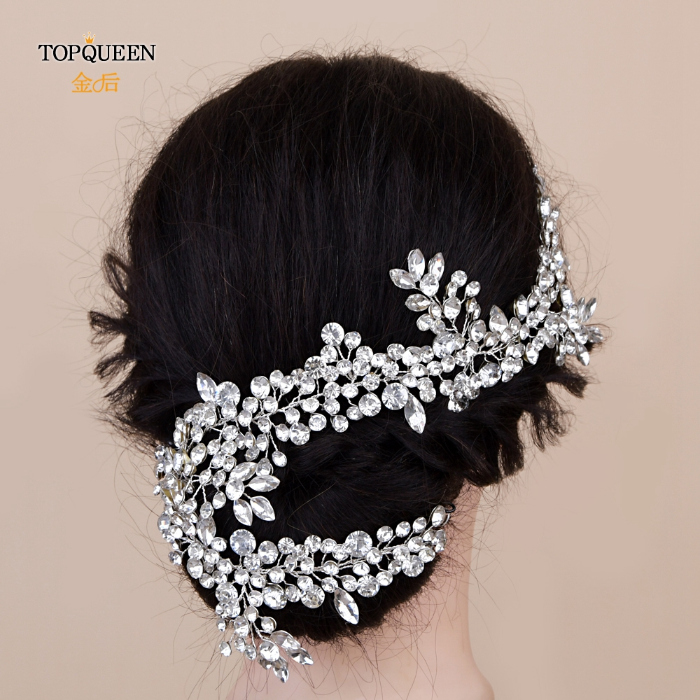 TOPQUEEN HP259 Long Hair Accessories For Women Wedding Headbands  Bridal Hair Vine Rhinestone Crystal Bridal Tiara Headpieces