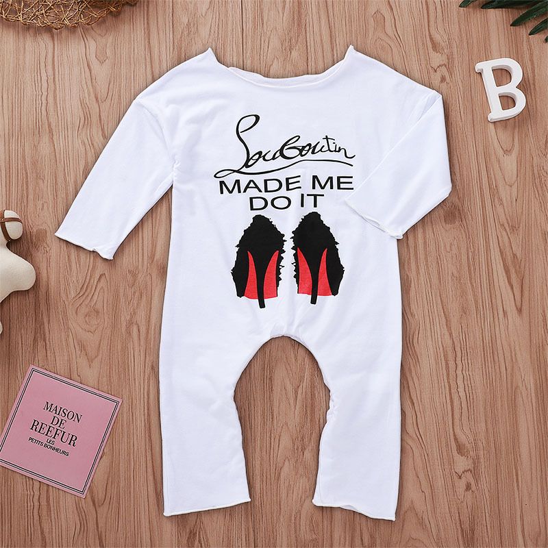 Baby Girl Romper MADE ME DO IT Letter White Long Sleeve Toddler Jumpsuit Baby Onesie Costume Birthday Gifts Infant Clothing in Rompers from Mother Kids