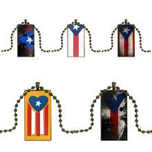 Joyería de Color bronce de marca collar de declaración de moda collares de cristal colgantes para mujeres boda Puerto Rico bandera Vintage