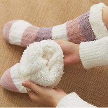 Grosso quente sono meias chinelos meias engrossar feminino meninas impressão listra casual não deslizamento quente inverno mid tube bonito meias