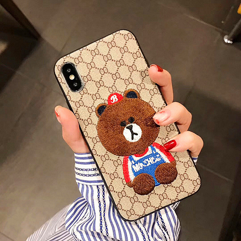 For Iphone 8 Case Chinese Style Embroidery Little Bear Phone Case For Iphone 6 6s 7 8 Plus And Iphone X Xr Xs Max Cover