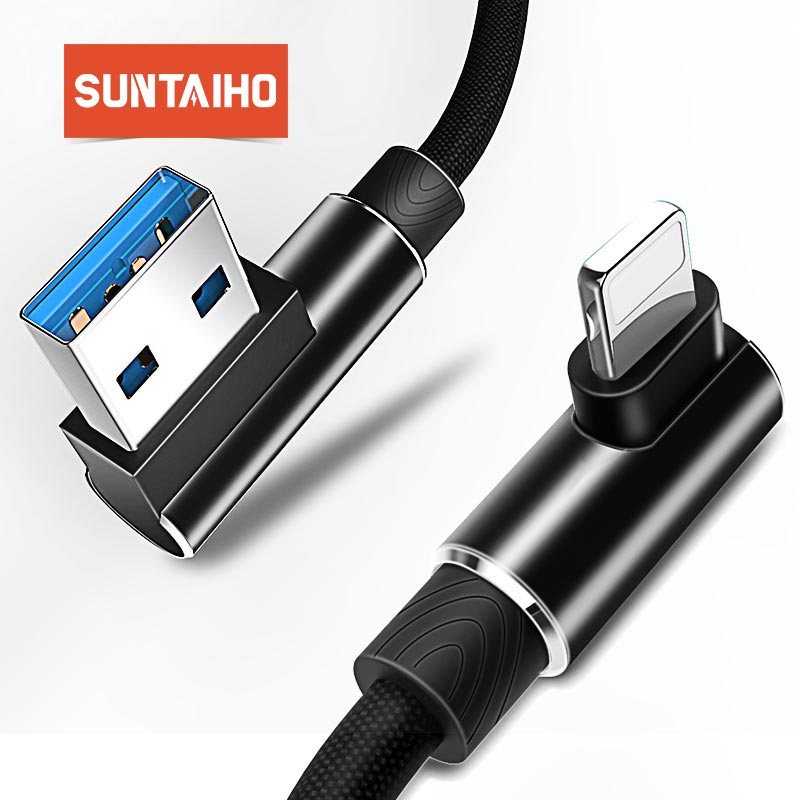 Suntaiho 90 Degree Reversible USB Cable For iPhone XR XS MAX 7 8 6 5 2.4A Fast Charging For lighting Cable Charger L Data Cable-in Mobile Phone Cables from Cellphones & Telecommunications on AliExpress