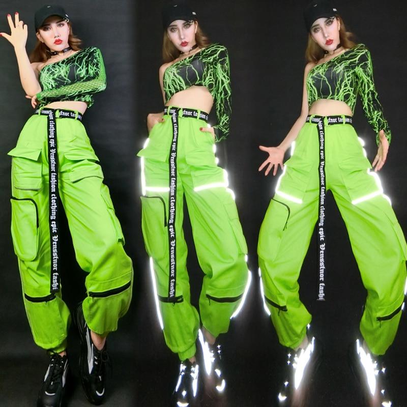 Hip Hop Costumes Adults Fluorescent Green Reflective Pants Women Street Dance Clothes Nightclub Bar Performance Wear DNV12422
