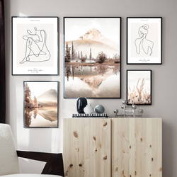 Morning Mist Sunrise Calm Lake Grass Nordic Poster One Line Wall Art Print Canvas Painting Decoration Pictures For Living Room
