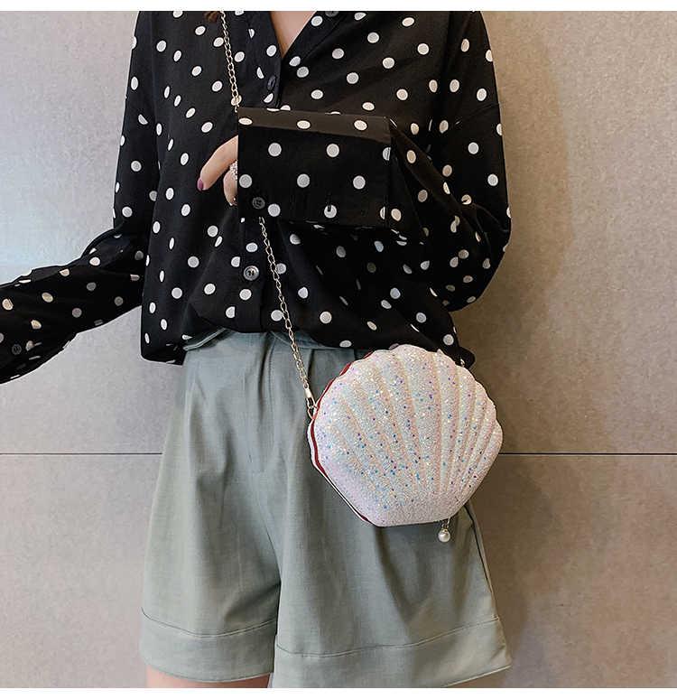 かわいいスパンコールスモールシェルバッグショルダーバッグ電話マネーポーチチェーン女性のためのクロスボディバッグ
