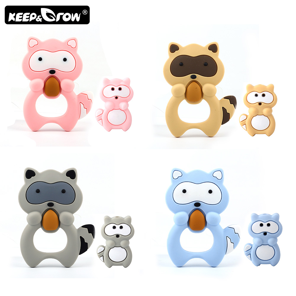 Keep&Grow 2Pcs/Set Mini Raccoon Silicone Beads Baby Teethers DIY Necklace Making BPA Free Teether Accessories