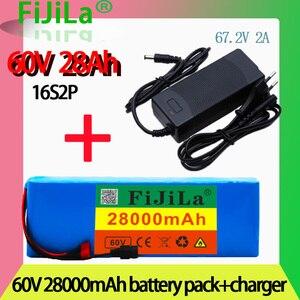 Литий-ионный аккумулятор 60 в 16S2P 28Ah 18650 67,2 в 28000 мАч для электровелосипеда, электровелосипеда, скутера с разъемом BMS 1000 Вт и зарядным устройством