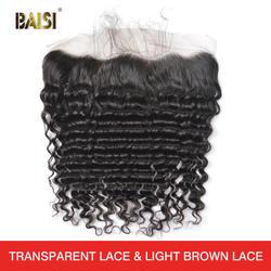 BAISI волосы бразильские девственные волосы глубокая волна Кружева Фронтальная с детскими волосами отбеленные узлы 100% человеческие волосы