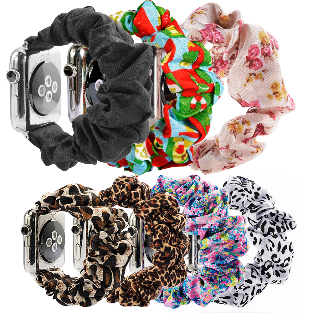 Scrunchie Elastic Leopard WatchBand For Apple Watch Band Series 5 4 3 2 Cheetah Strap 38mm 40mm 42mm 44mm For Iwatch 5 4 3 2 1
