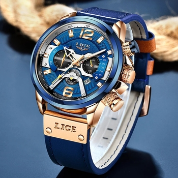 2021 LIGE Casual Sports Watch for Men Top Brand Luxury Military Leather Wrist Watches Mens Clocks Fashion Chronograph Wristwatch 4
