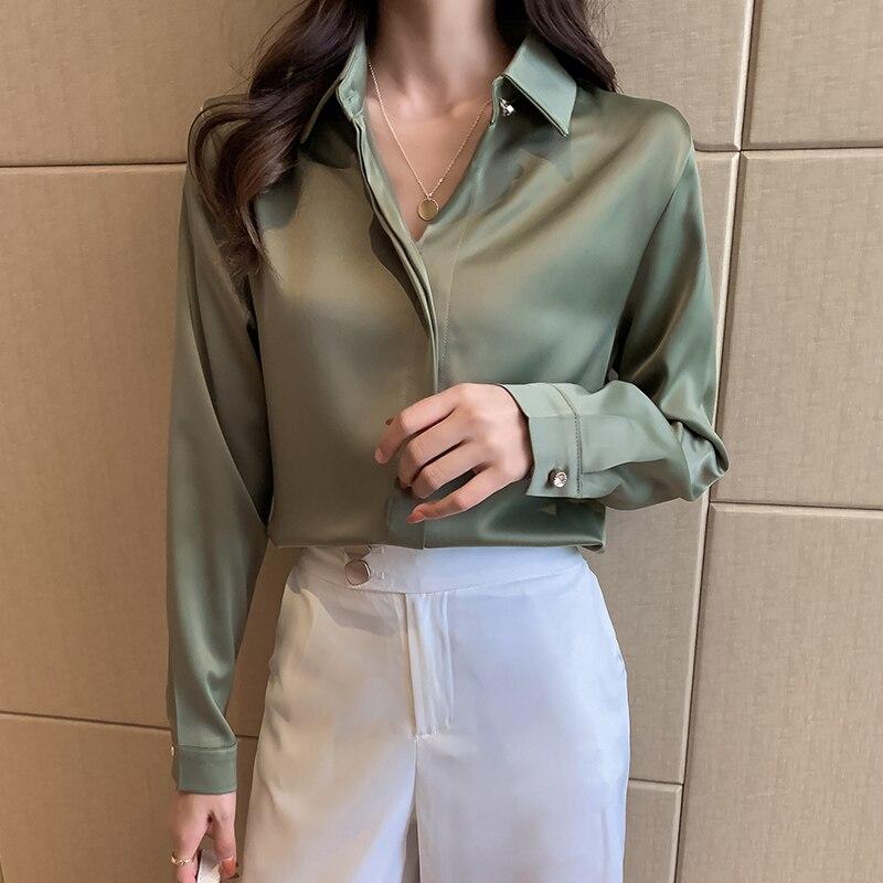 Silk Women Shirts Women Long Sleeve Shirts Woman Satin White Shirt Woman Silk Blouse Tops Plus Size Casual Ladies Satin Blouses