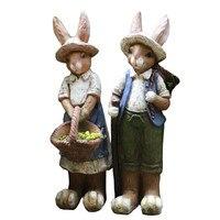 69.5cm American Country Retro Rabbit Statue Mgo Crafts Bunny Boy And Girl Sculpture Outdoor Garden Courtyard Decoration R2962