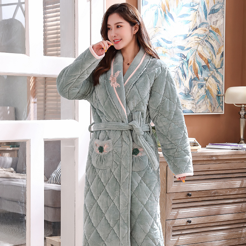 Winter Coral Velvet 3Layers Quilted Bathrobe Women Pajamas Womens Nightgowns Flannel Warm Robe Sleepwear Plus Size Womens Robes