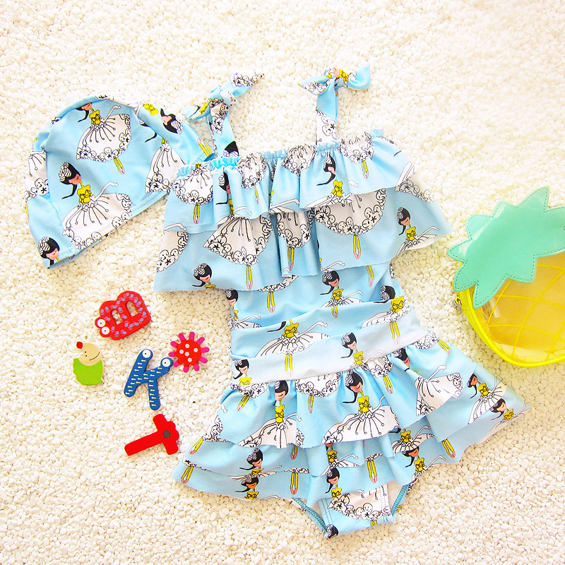 New Style Bathing Suit Printed Girls Medium-small Children Infants South Korea Hot Springs Students Dress-Baby