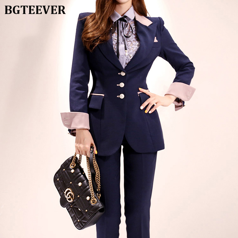 Stylish Patchwork Women Pant Suit Office Ladies Single-breasted Slim Women Blazer Suit Set Female Workwear Trouser Suit 2019
