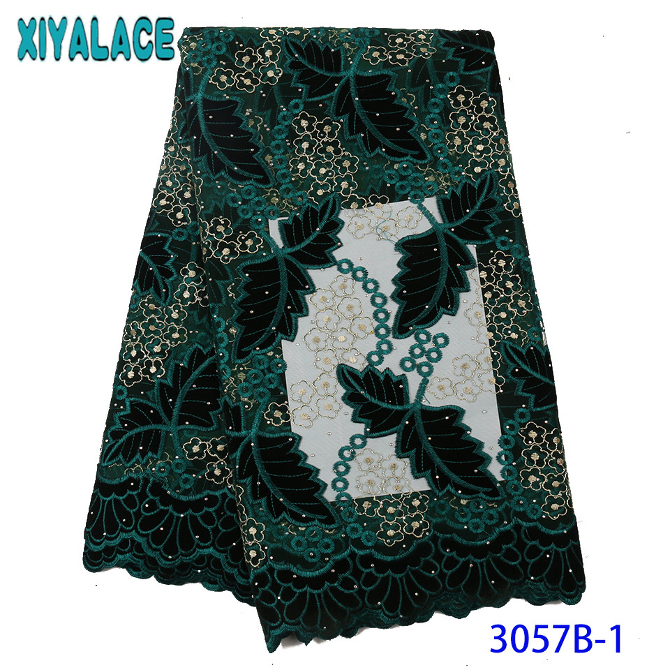 French Lace Fabric Hot Sale Velvet Fabric Lace 2019 High Quality Nigerian Lace Embroidery With Stones For Women Dresses KS3057B