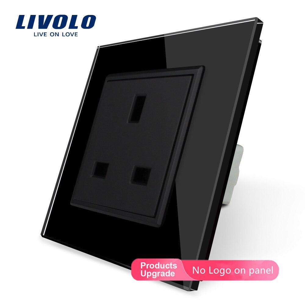 Livolo розетка стандарта ЕС Великобритании, белая/черная кристальная стеклянная панель, AC 110~ 250 В, 13A розетка, VL-C7C1UK-11/12,80 мм* 80 мм, без логотипа