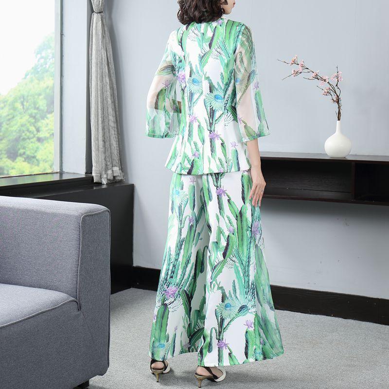 Office Lady Lapel Slim Printed Blazer Suit Wide Leg Pants Two Piece Set Elegant Green Double Breasted Coat & Baggy Pants Suit