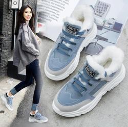 2019 sapatos inverno quente plataforma mulher botas de neve de pelúcia feminino casual tênis camurça do falso couro feminino botas de neve sapatos quentes pele