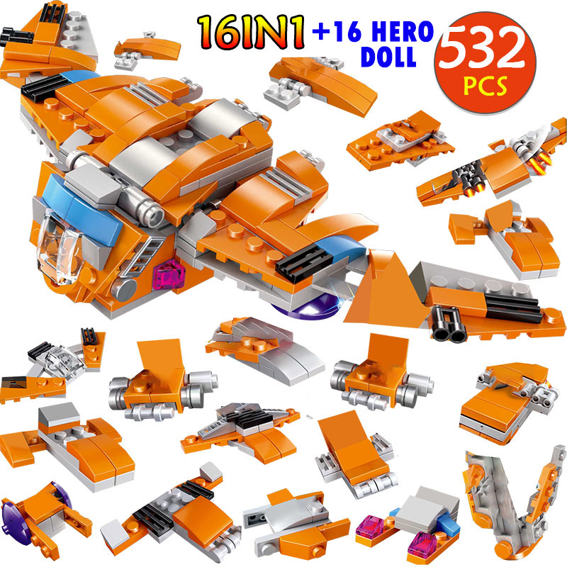 532PCS Technic Legoingly Helicopter Bricks Super Heroes Guardians of the Galaxy Abilisk Aircraft Building Blocks Kits Kids Toys