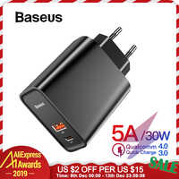 Baseus Quick Charge 4.0 3.0 ładowarka USB do Redmi Note 7 Pro 30W PD Supercharge szybka do telefonu ładowarka do Huawei P30 iPhone 11 Pro