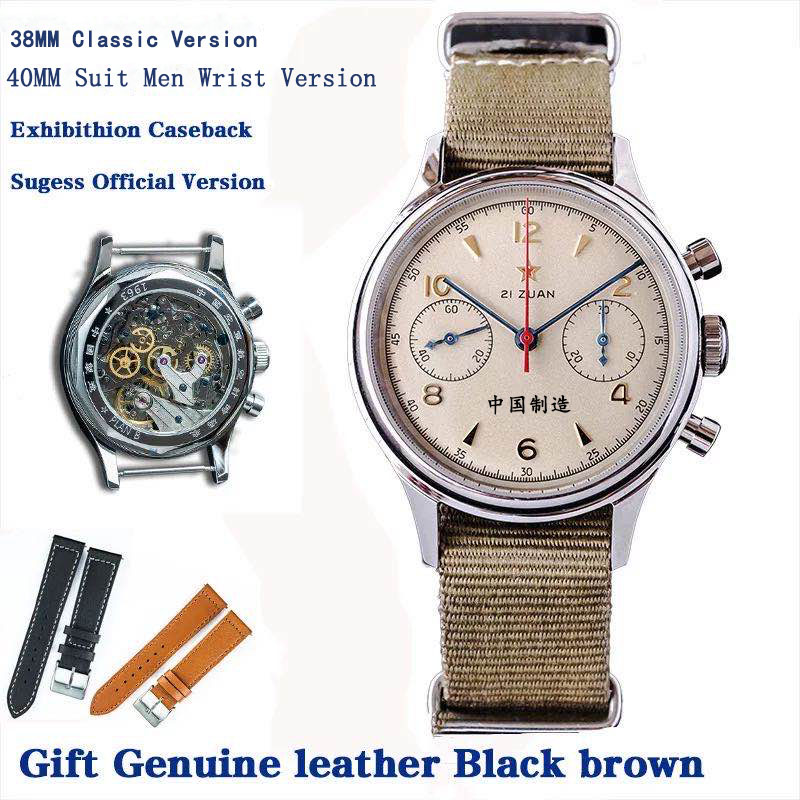 40mm 1963 Pilot Men Watch Chronograph Clear Caseback skeleton ST1901 movement Air Force Mechanical Sapphire watch NATO Strap|Mechanical Watches| - AliExpress