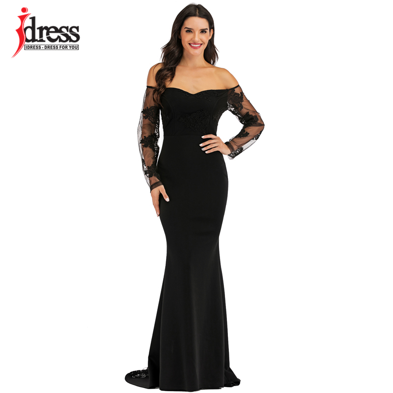 IDress Sexy Slash Neck Off Shoulder Designer Runway Dress Formal Prom Long Dress Women Lace Embroidery Evening Party Dress Long (5)