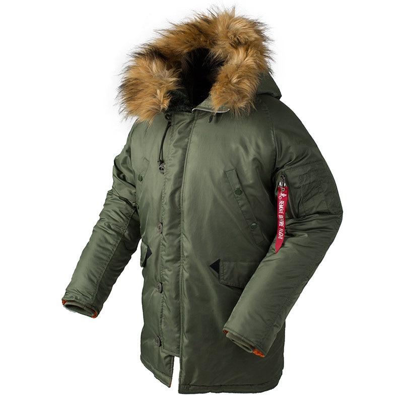 KIOVNO Männer Winter Warme Bomber Jacken Mit Pelz Kragen Military Thermische Kapuze Lange Jacken Outwear Für Männlichen Parkas Multi Taschen - 2