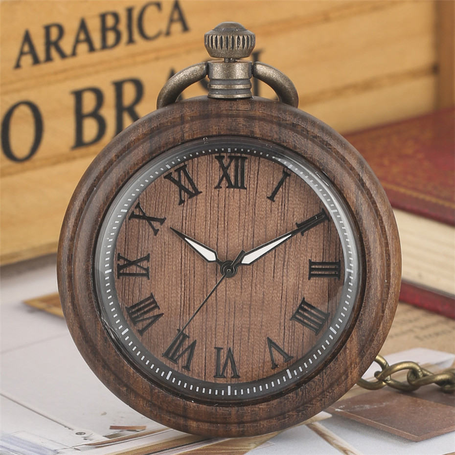 Coffee Brown Wood Watch Antique Hanging Clock Quartz Pocket Watches Roman Numerals Display Pendant Clock Bronze Chain